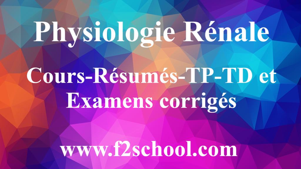 Physiologie Rénale : Cours-Résumés-TP-TD et Examens corrigés