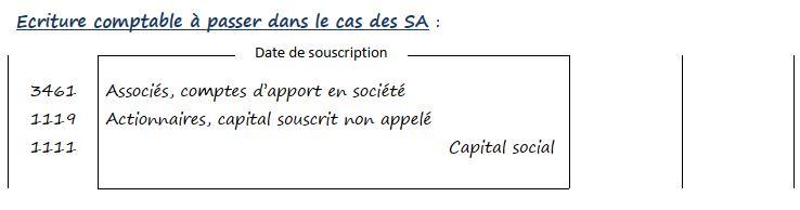 Ecriture comptable à passer dans le cas des SA