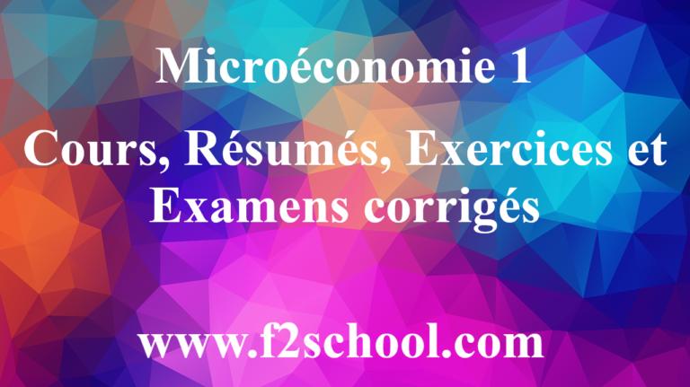 Microéconomie 1 : Cours, Résumés, Exercices et Examens corrigés